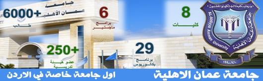 إعلان جامعة عمان الأهلية